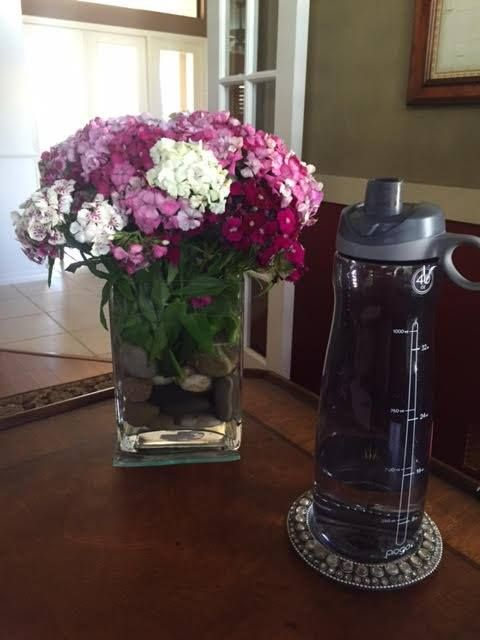 Fresh flowers for this week and my water...let the week begin!