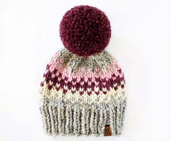 Fair Isle Hat Pattern // Pom Pom Hat Knitting Pattern // Hat ...
