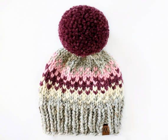 Fair Isle Hat Pattern Pom Pom Hat Knitting Pattern Hat