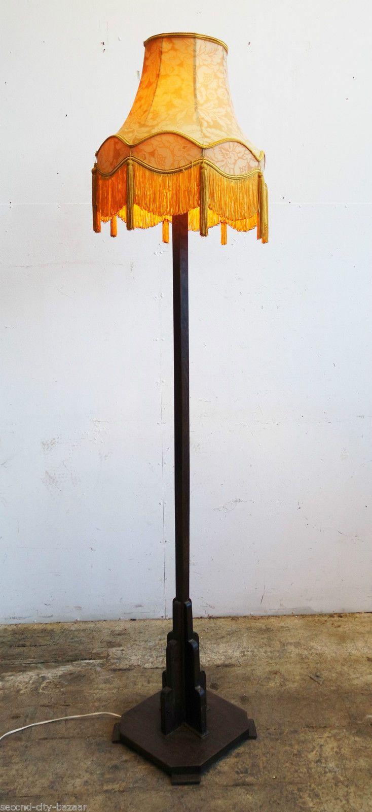 Vintage 40s 50s Mid Century Art Deco Geometric Oak Standard Floor Lamp U0026  Shade