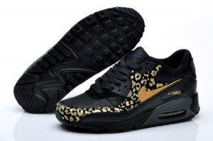 Spiel Nike Air Max 90 Damen Leopard Drucken SchwarzGold