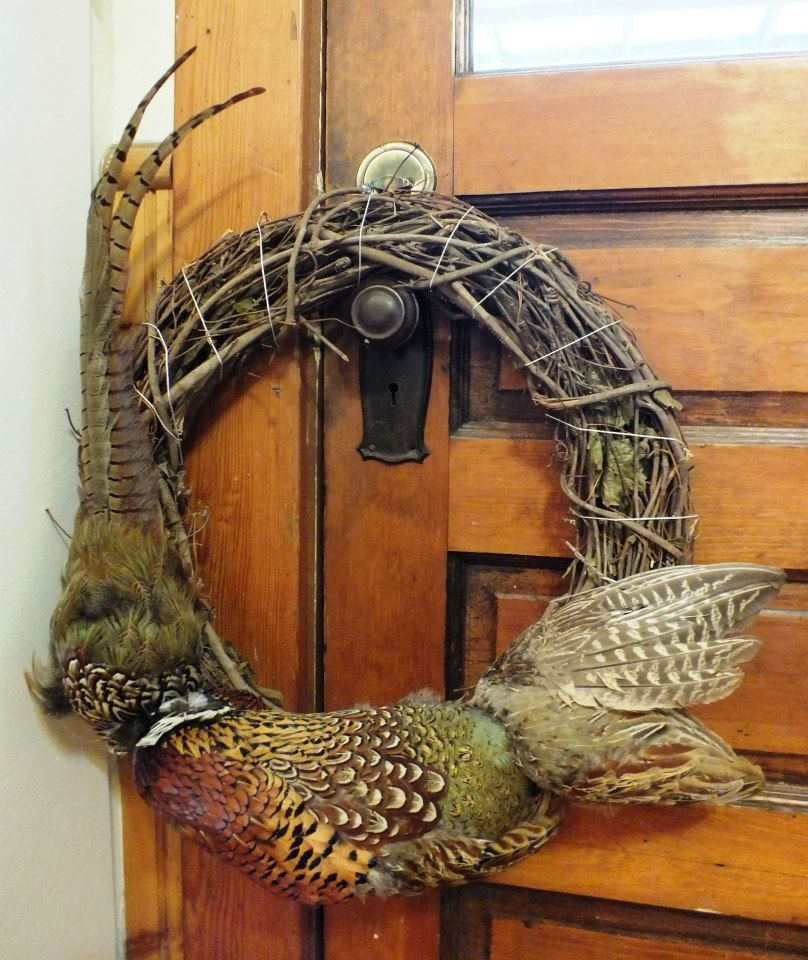 pheasant pelt and feathers wreath for fall and hunting