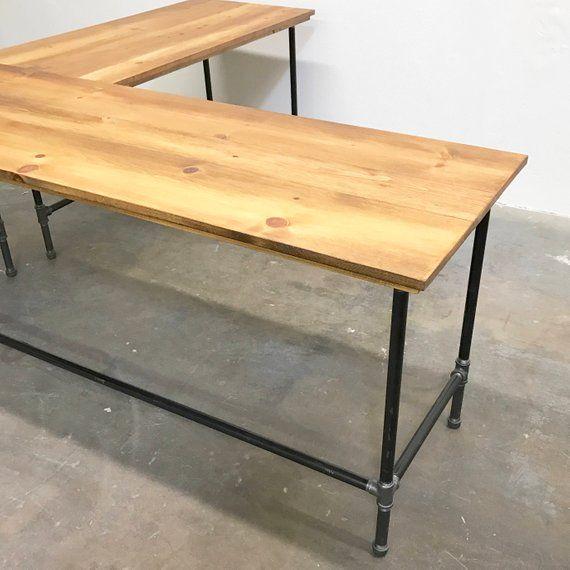 Wayne Corner Desk Solid Wood And Steel Pipe Modern Etsy