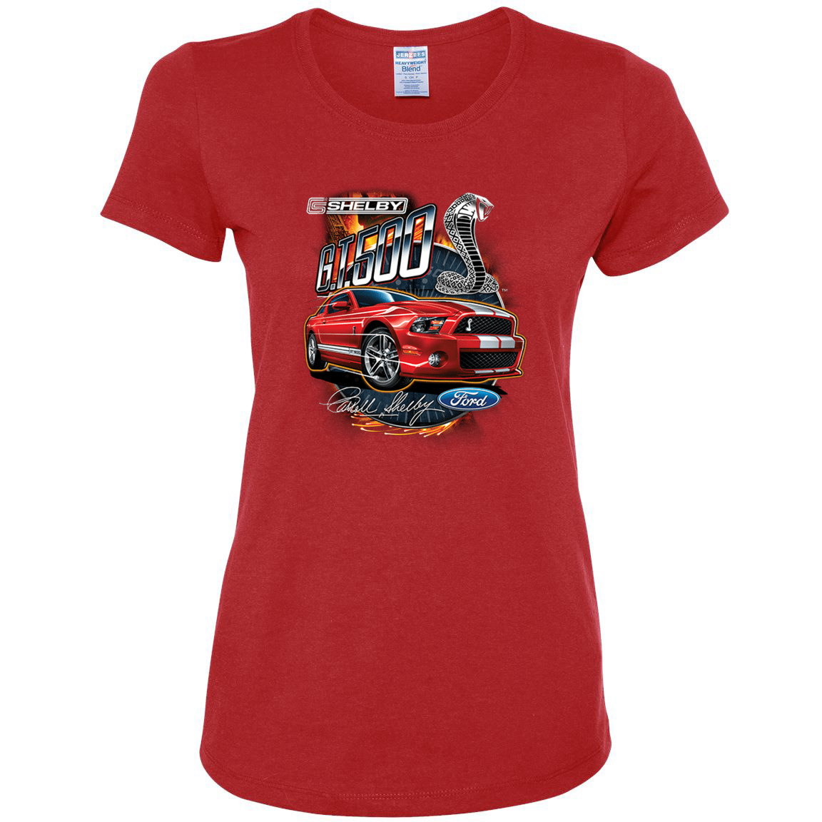 Shelby G.T. 500 Cobra Red Speedster Ford Motors Classic Cars and Trucks Womens Graphic T-Shirt