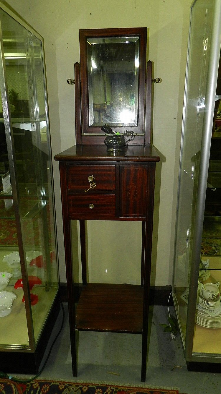 Antique Mahogany Floor Shaving Stand Cabinet With