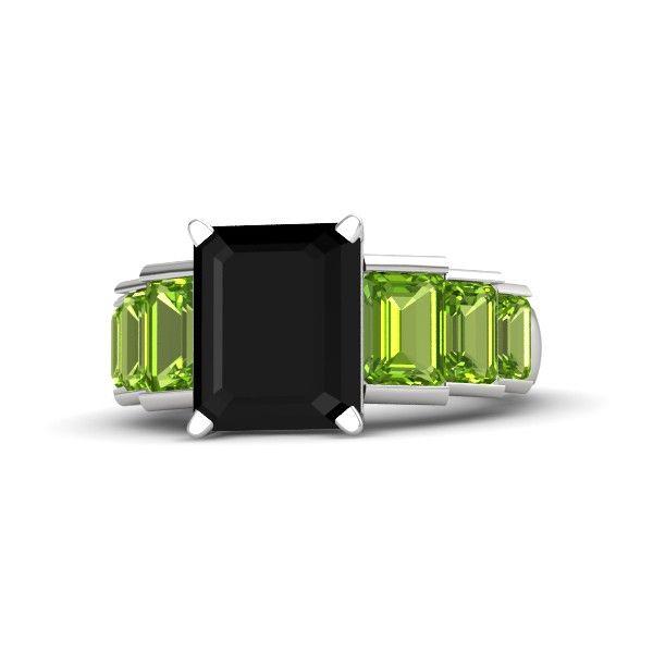 Emerald-Cut Black Onyx Sterling Silver Ring with Peridot   Evelyn Ring   Gemvara.com
