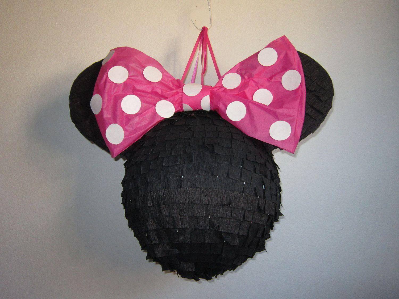 Plain Black Minnie Mouse Pinata with Pink Polkadot Bow | Fiestas ...