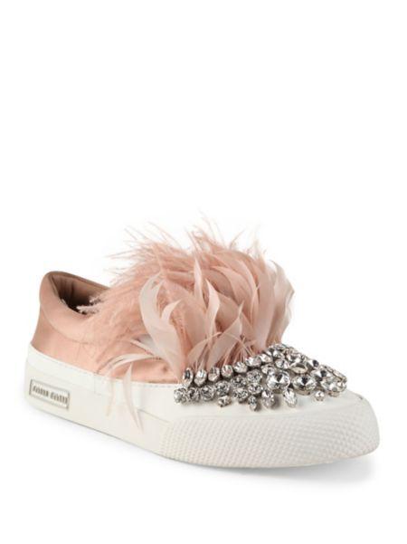 c386147333dff Miu Miu - Jeweled Feather   Satin Skate Sneakers   Yay...Shoes ...