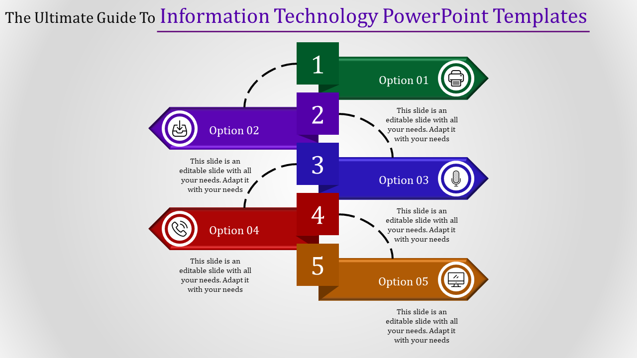Information Technology PowerPoint Template-arrow Connected Model