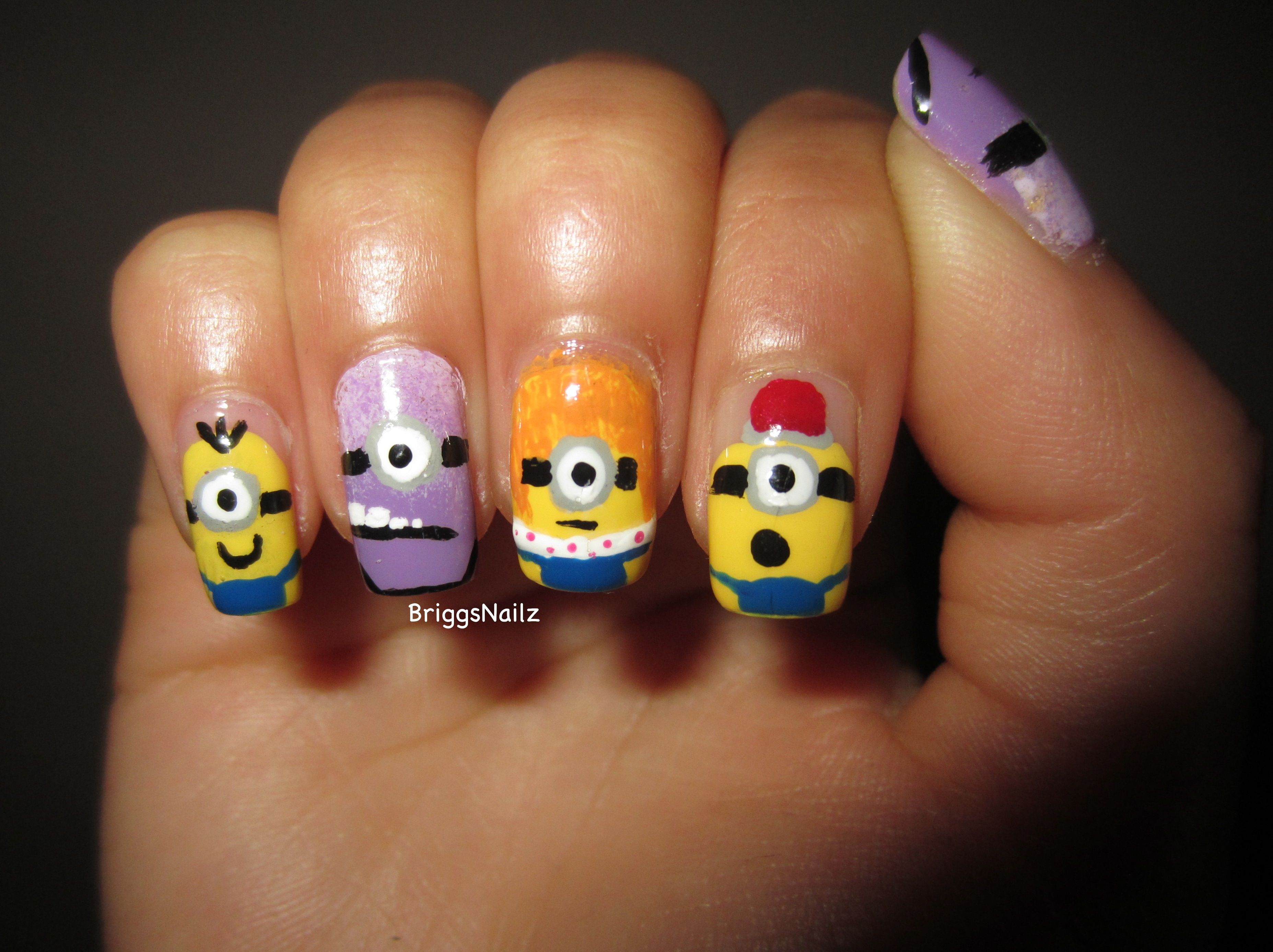 Despicable Me 2 Minion Nails on my left hand! I made a tutorial for ...
