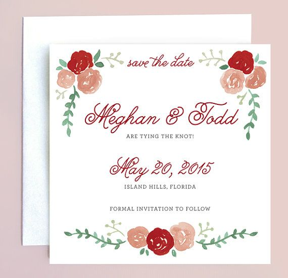 Watercolor Flower Save the Date with Red Roses - Red Floral Wedding Save the Date - Watercolor Save the Date - Red Rose Wedding Invite by Leveret Paperie