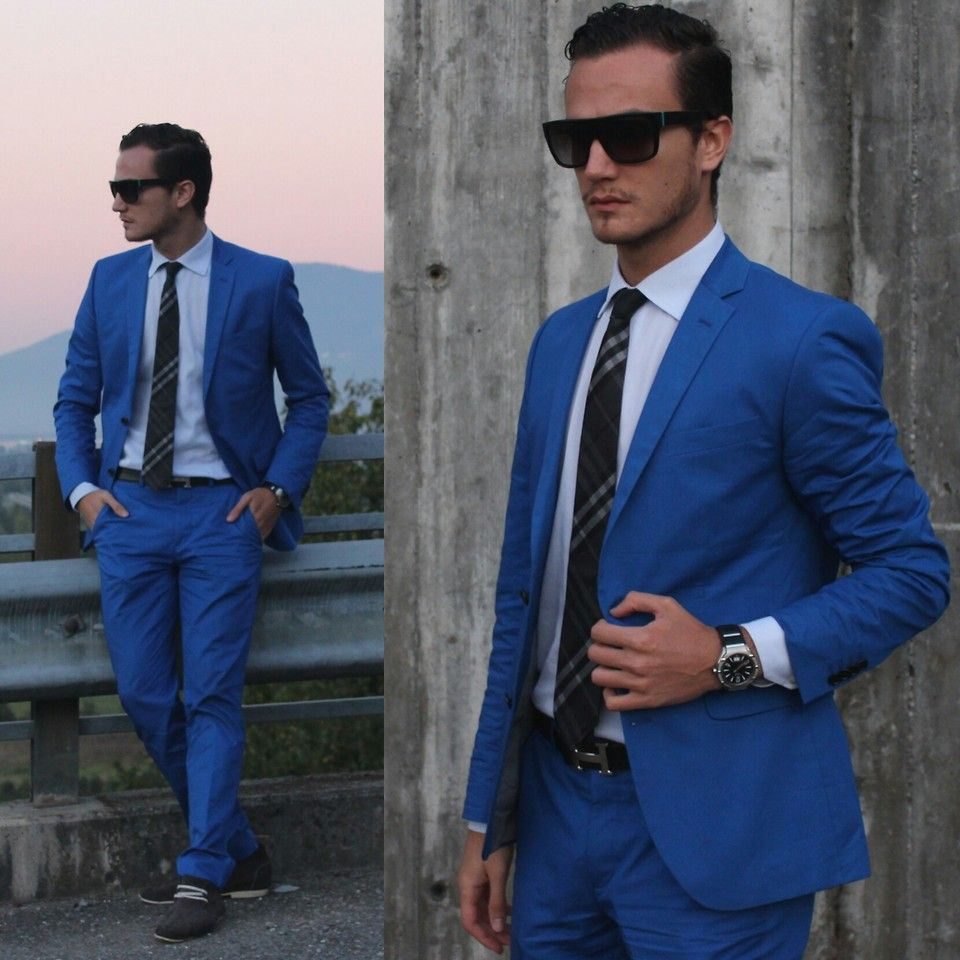 H M Electric Blue Suit Burberry Clic Tie And Hugo Boss Boots