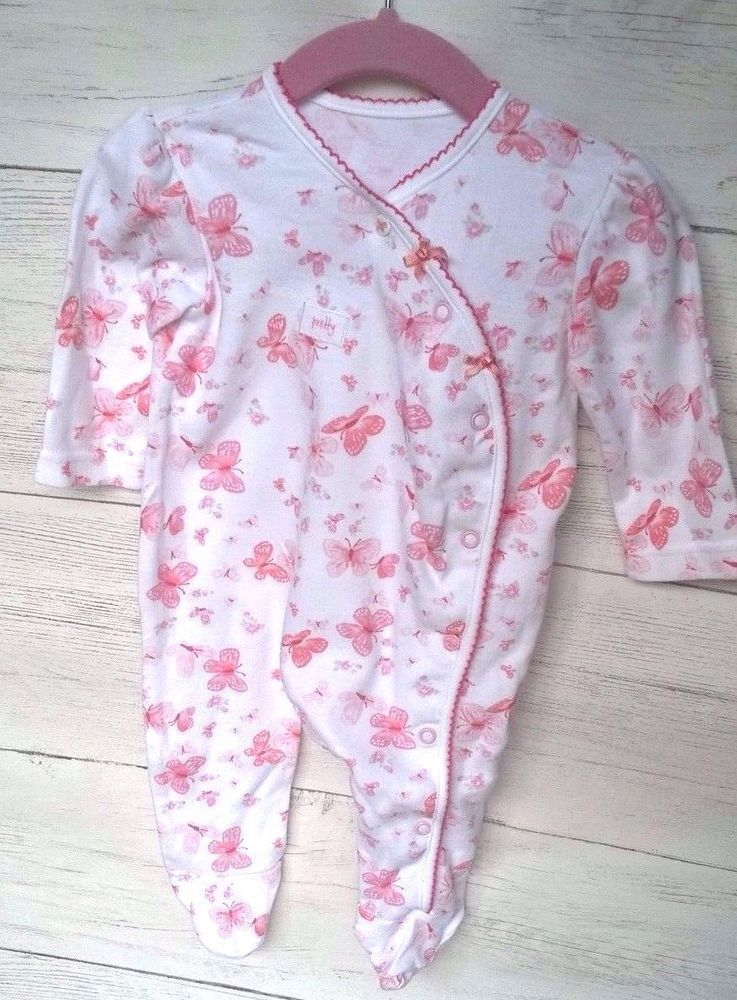 e64eca218 Baby Girls Pretty Pink Butterfly Sleepsuit Babygrow 3-6 months ...