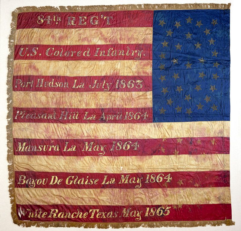 United States Colored Troops flag    Civil War battle flags became revered relics that bore witness to the courage and sacrifice of the soldiers who defended them. The Eighty-fourth Colored Infantry served in the Gulf of Mexico region until March 1866.