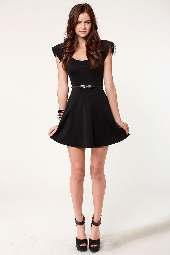Cute Black Dress Skater Dress Shoulder Pad Dress 3750 Bday