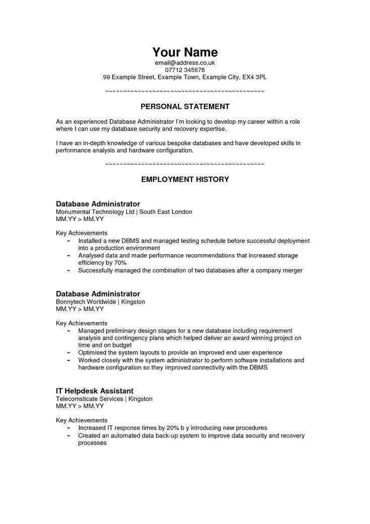 image result for examples of good personal statements for jobs