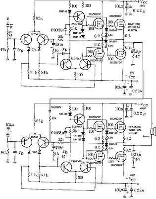 800 Watt power amp with MosFet Circuit diagram, Audio