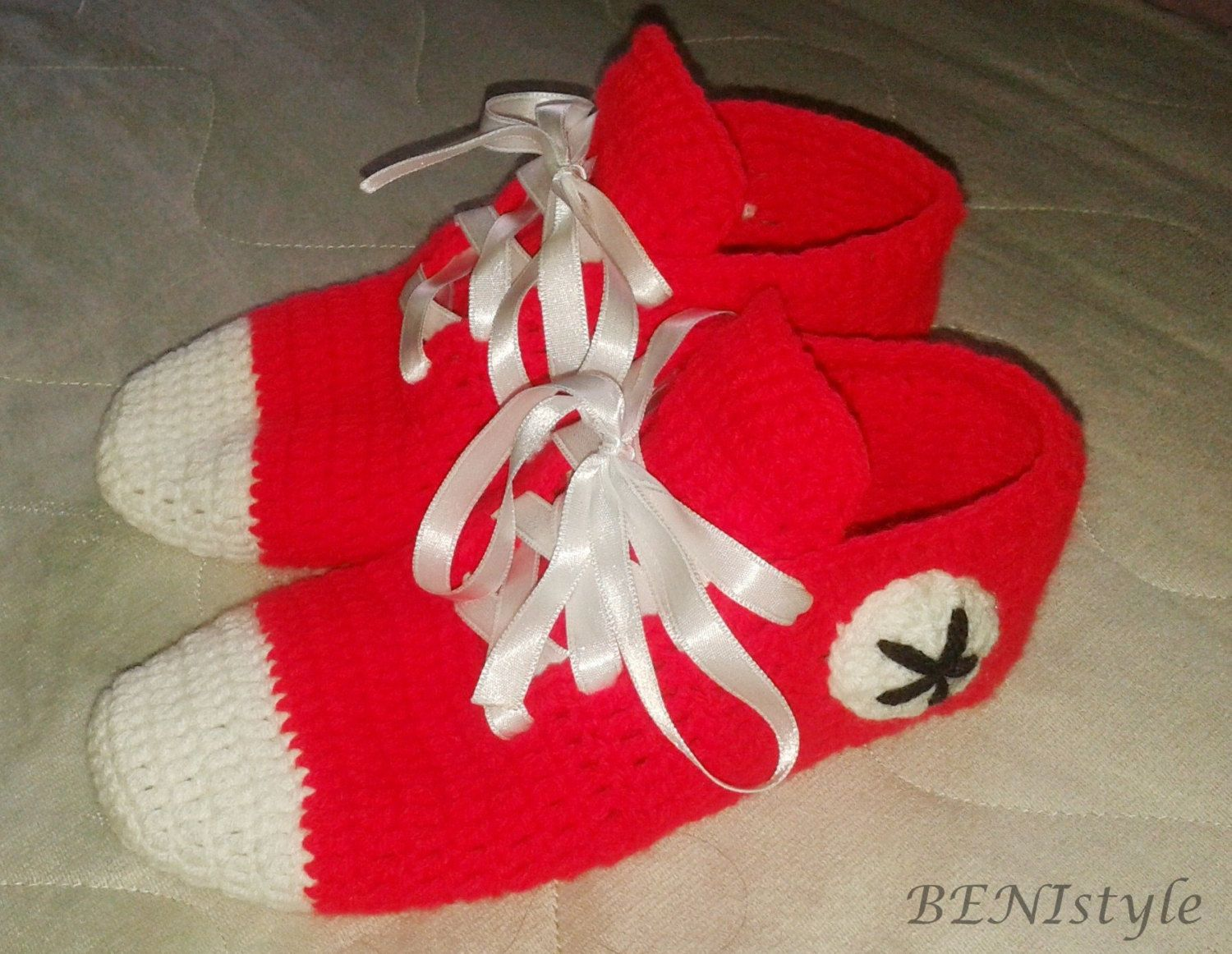 Crochet Converse Slippers, Women Converse Slippers, Women Home Slippers, Home Shoes, Adult Size, Red Converse Slippers, by BENIstyle on Etsy