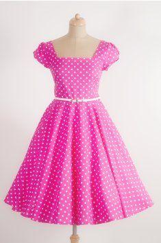 fb42b0622aca LORETTA Retro šaty růžové s puntíkem puntíky růžová pásek handmade ruční  výroba česká výroba svatba romantika