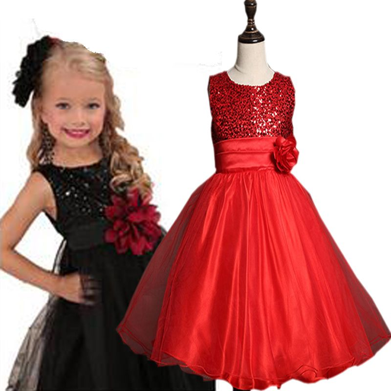 2017 New Summer Girls rose Dress Princess Kids Wedding Dresses Sequins Girl  Clothes Clothing Christmas Children Party Costume 96209ad058cc