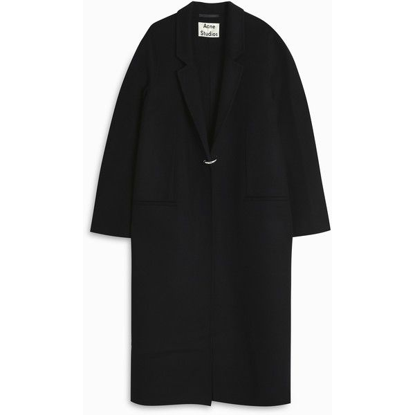 ACNE STUDIOS Foin Double Coat ($1,338) ❤ liked on Polyvore featuring outerwear, coats, navy blue coat, oversized coat, navy coat, long oversized coat and long coat