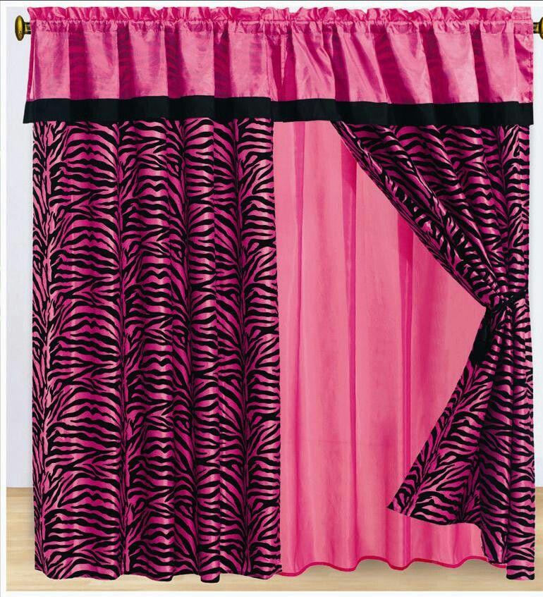 Pink and black zebra print curtains