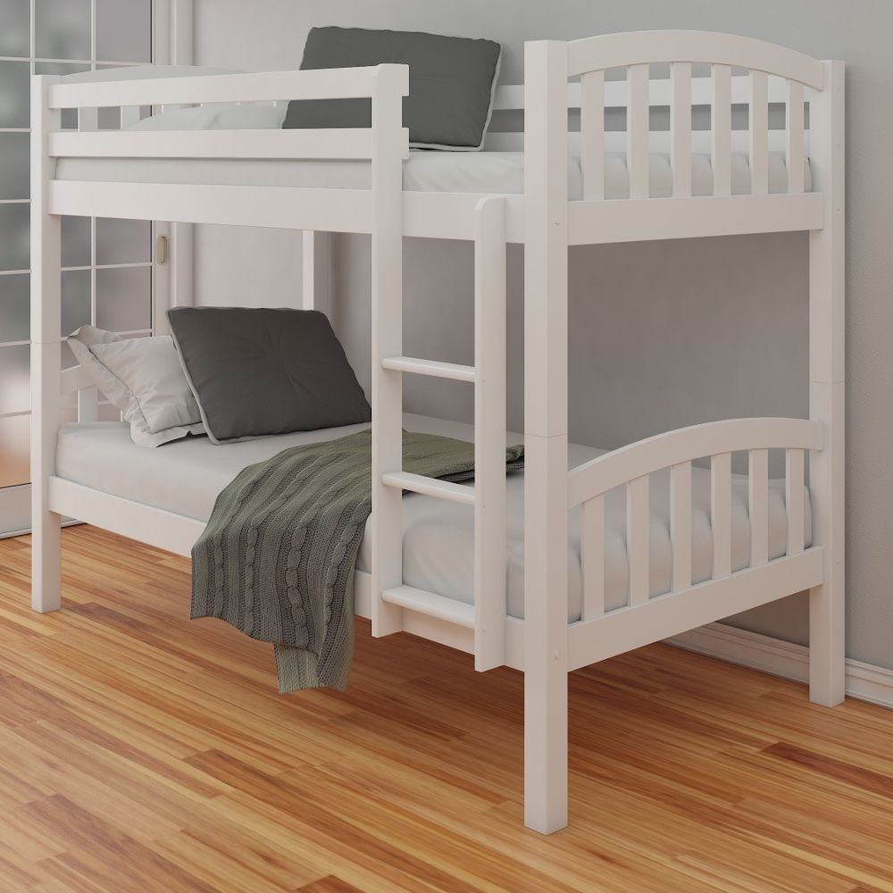 American White Finish Solid Pine Wooden Bunk Bed Frame 3ft