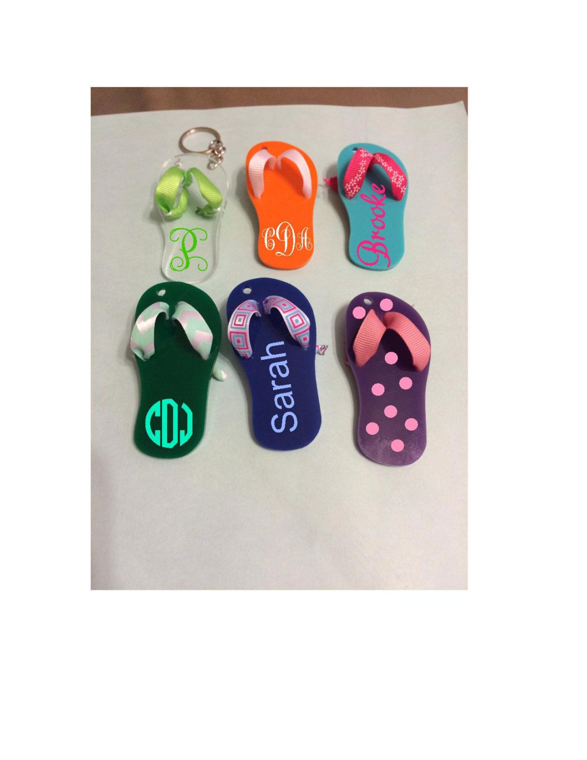 """3"""" Flip Flop Monogrammed/Personalized Acrylic Keychain by SuperiorVinylDesigns on Etsy"""