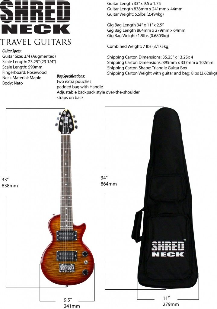 Shredneck Travel Guitars Weights And Dimensions Guitar Bass Player Electric Guitar