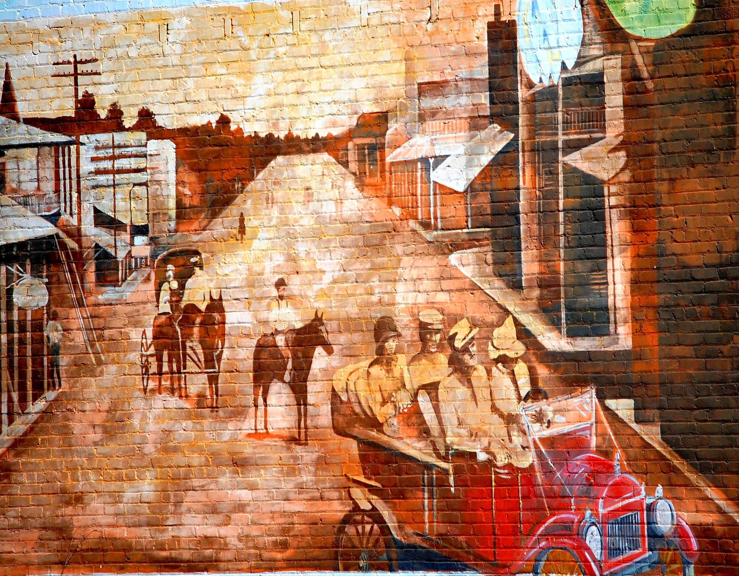 Wall mural depicting historic scene from vivian louisiana for Colonial mural wallpaper