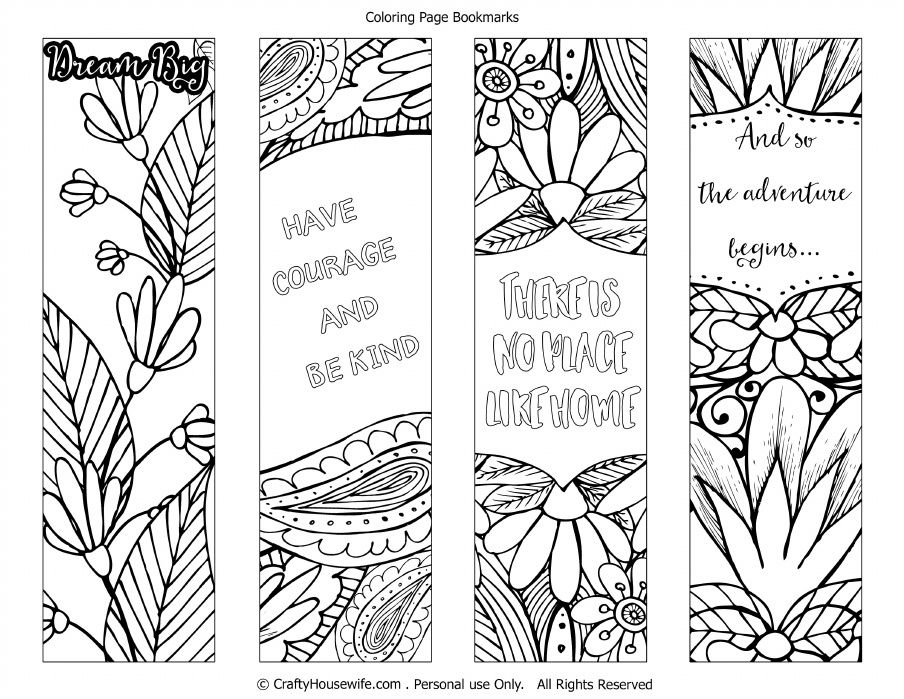 Printable Coloring Page Bookmarks For Crafty Housewife Coloring Bookmarks Coloring Pages Printable Coloring Pages