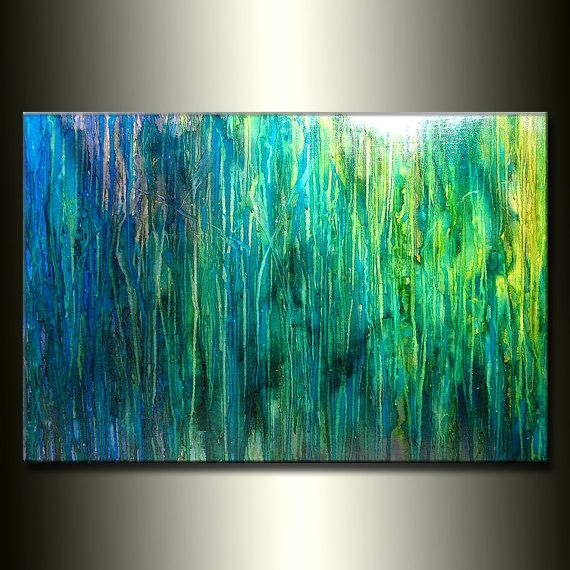 Original Abstract Painting Contemporary Blue Green Fine Art By Henry Parsinia Large 36x24 Btw