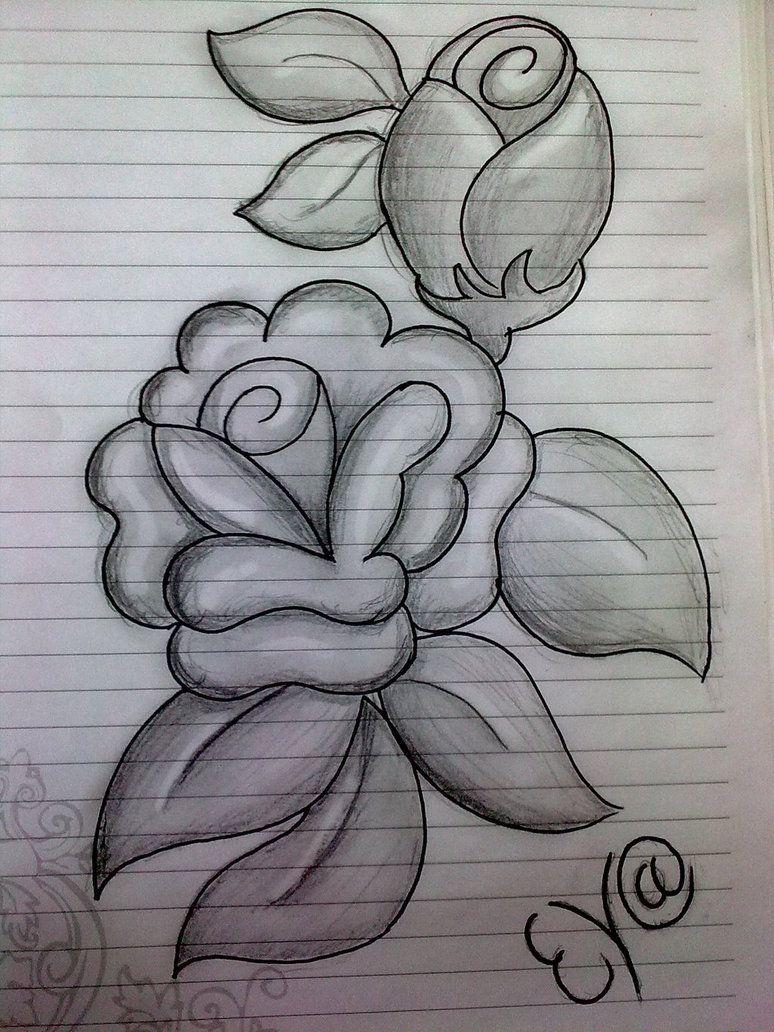 easy pencil drawing Google zoeken Flower sketch pencil
