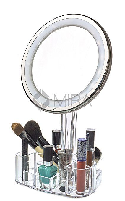Stand Up Vanity Mirror With Lights. Daisi Magnifying Lighted Makeup Mirror  Powerful LED Lights Swivel Stand Vanity tray Make up holder stand Round 7X