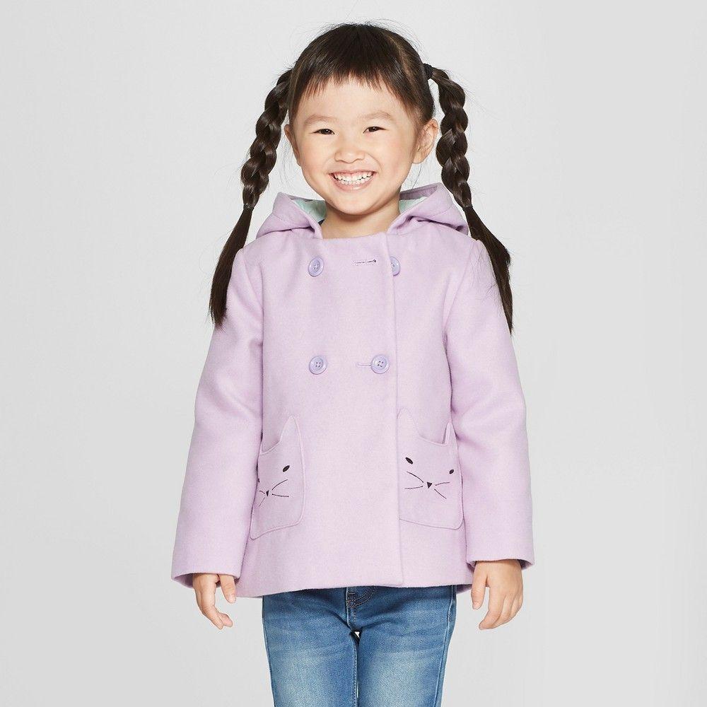 9e57a9ca9 Toddler Girls  Faux Wool Cat Overcoat - Cat   Jack Purple 12M in ...