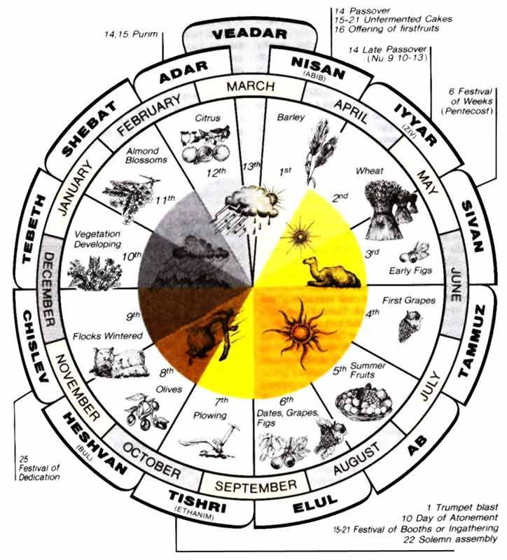 Hebrew Calendar.God S Government Includes His Yearly Feasts That Occur On The Hebrew