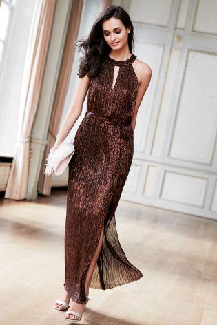 862b9bd027 Bronze Metallic Plissé Maxi Dress