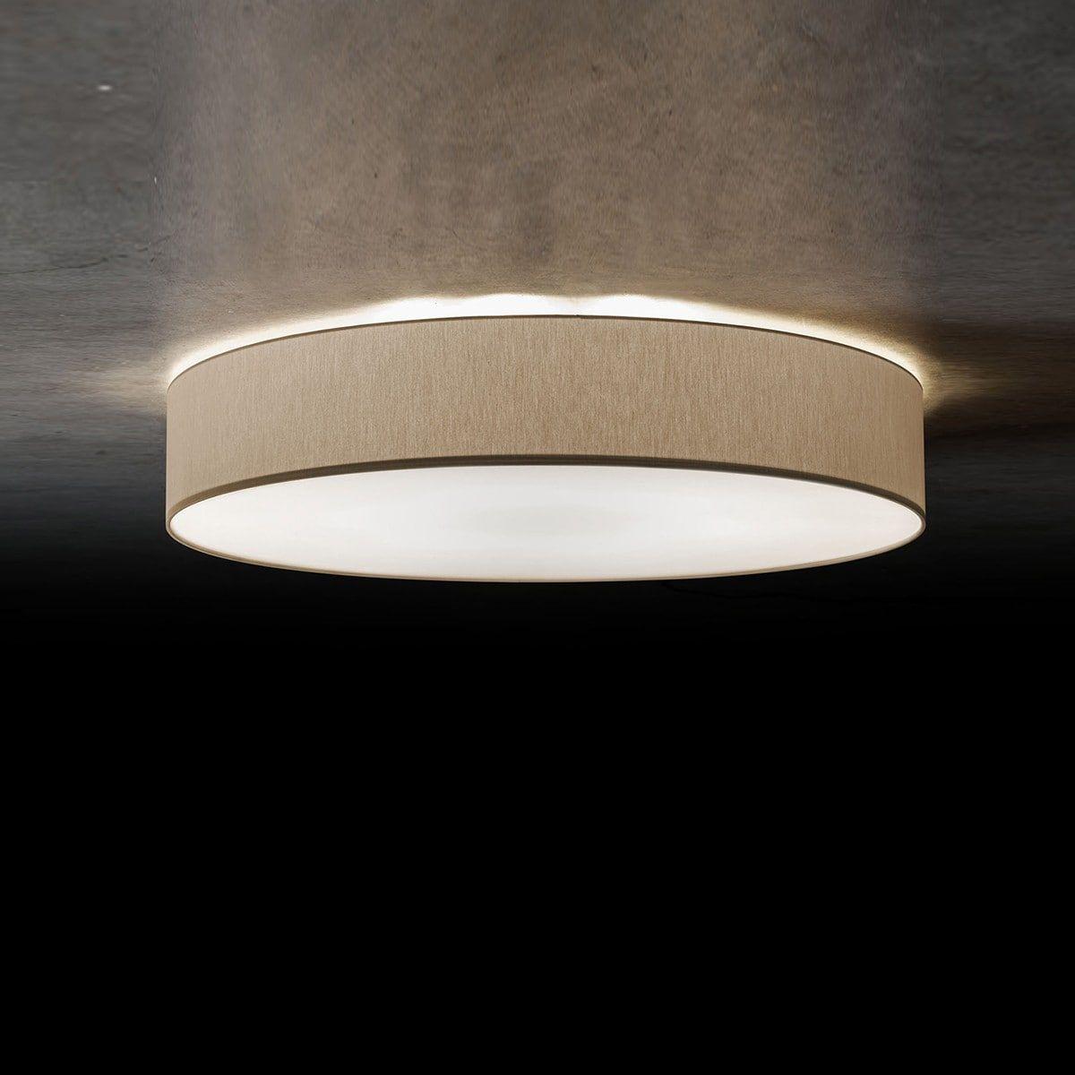 LED Decken Leuchte Rund Stoff FERNBEDIENUNG Farbwechsel Textil Lampe Dimmer Grau