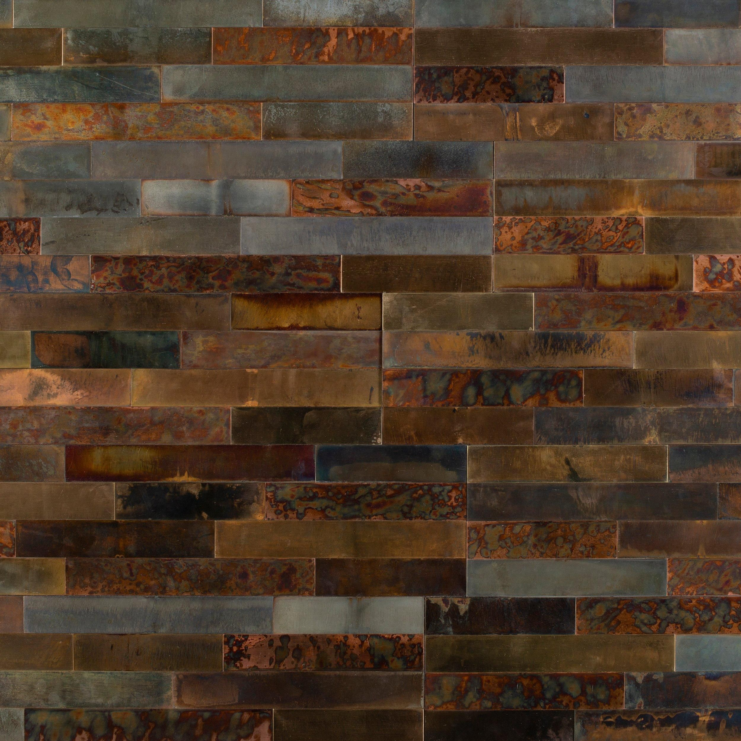 Distressed Copper Peel And Stick Metal Wall Panel In 2020 Metal Wall Panel Wall Paneling Copper Wall Tiles