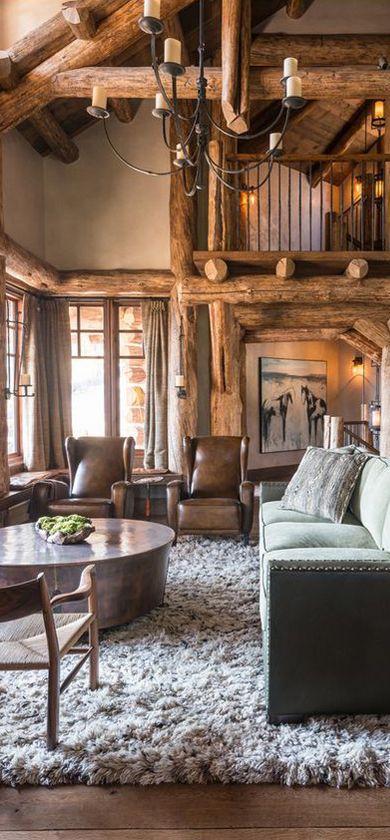 Rustic Design Ideas Log Homes Farmhouse Rustic Home Decor Cabin Living Home Log Homes #rustic #cabin #living #room