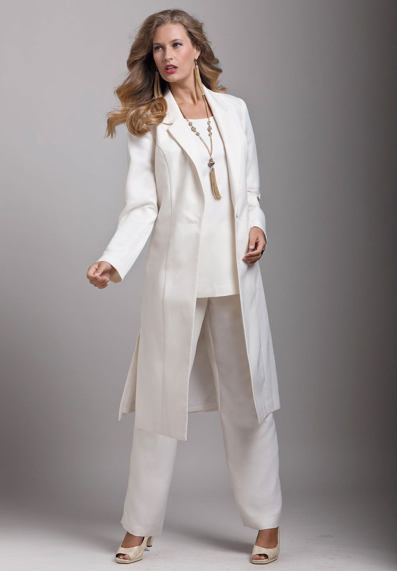 Plus Size Three Piece Duster Pant Suit Image Wedding