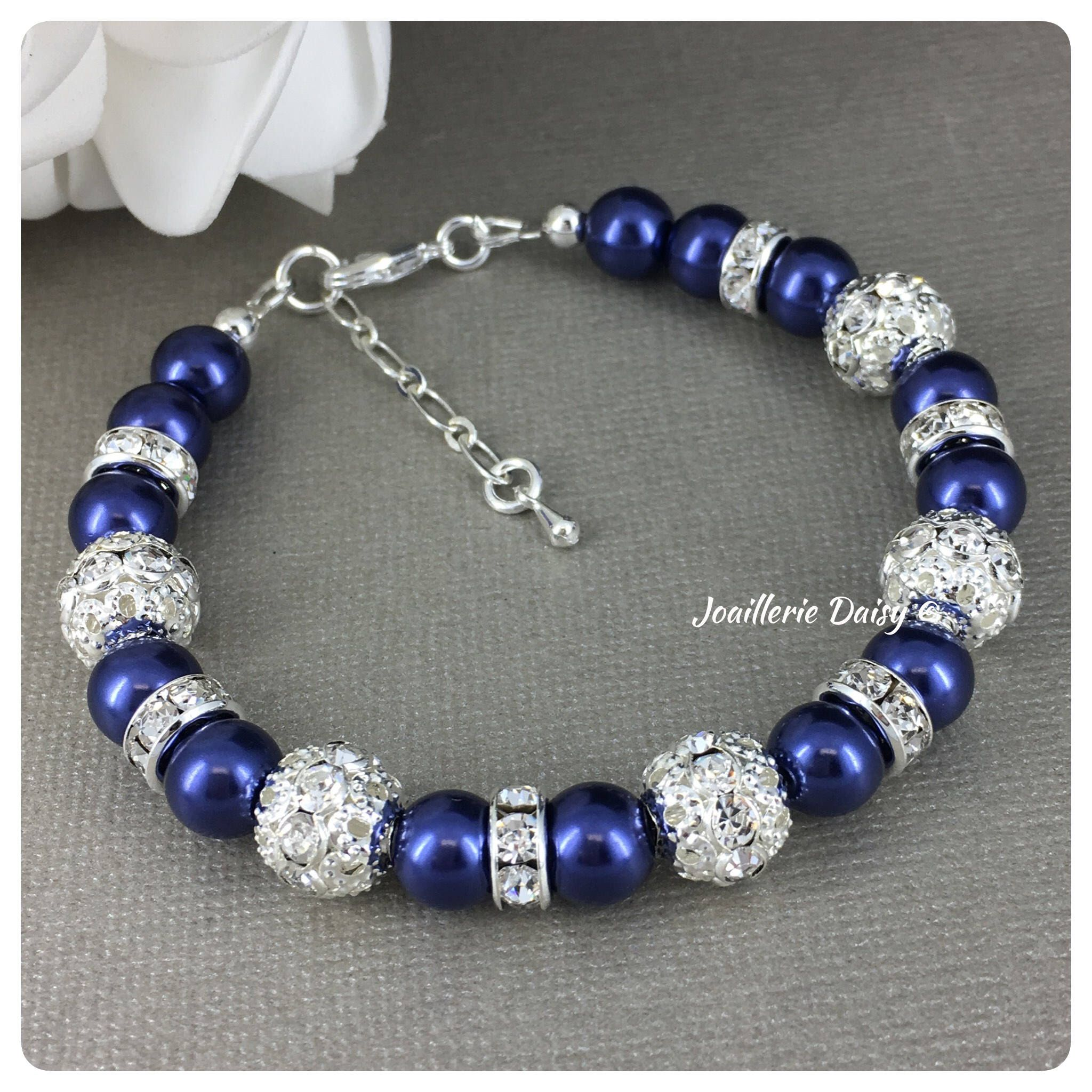 Navy Bracelet Something Blue Navy Blue and Rhinestones Bracelet