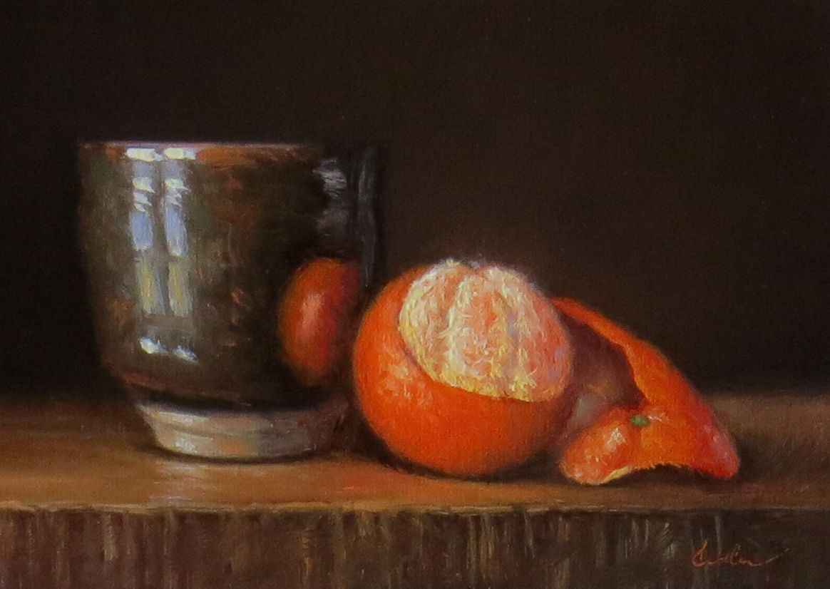 Darla McDowell: Still Life with Handmade Teacup and Clementine