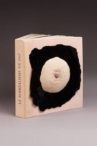 marcel duchamp's foam-rubber breast on the folder containing the exhibition publication 'le surréalisme en 1947, exposition internationale du surréalisme'