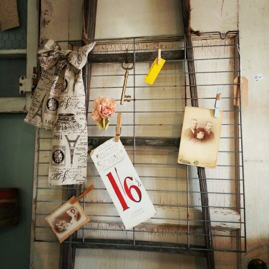 Upcycled oven rack with vintage decor Facebook.com/upcycledcottage ...