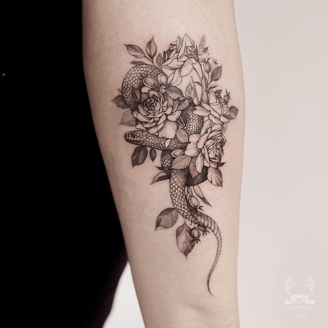 Snake Flower Tattoo