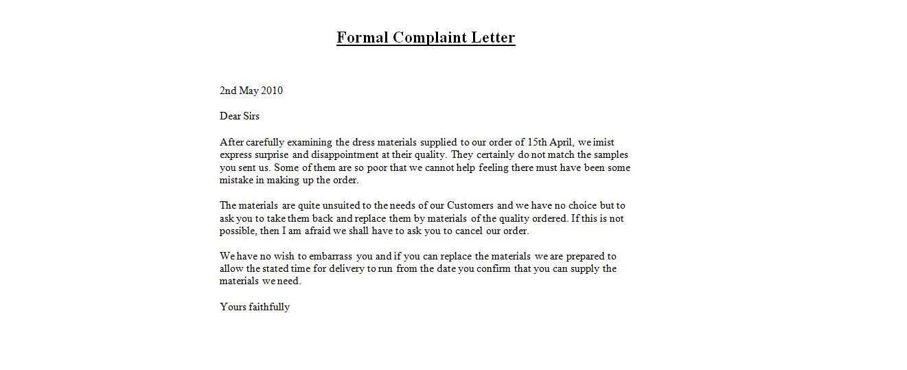 Complaint Letter Samples. Formal Complaint Letter Templates Free ...