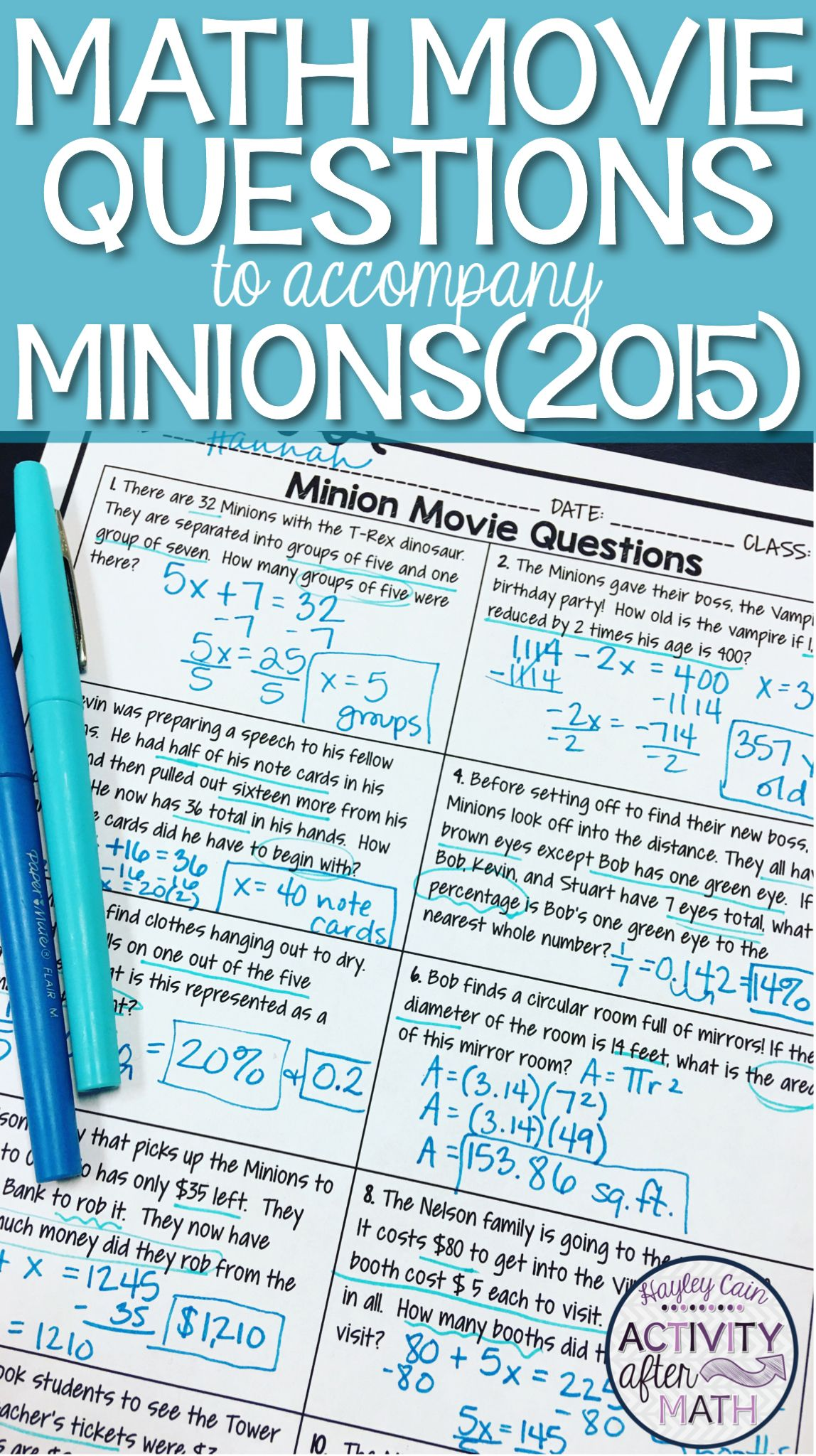 Math Movie Questions To Accompany Minions End Of The