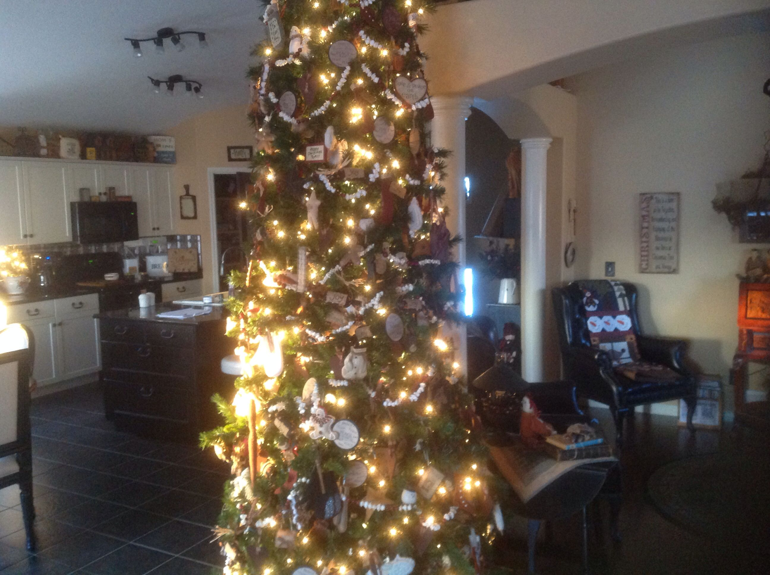 12 foot tree with over 300 homemade ornaments