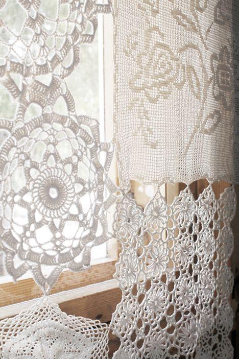 crochet doily curtain h keln gardinen crochet curtain pinterest vorh nge gardinen und. Black Bedroom Furniture Sets. Home Design Ideas